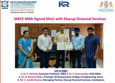 MOU SIGNED WITH KUMARASAMY COLLEGE
